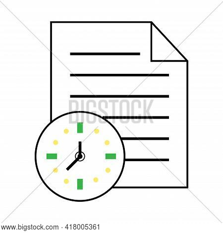 Documents Vector Icon, Timely Document Exchange Flat Icon. Valuable Documents, Time To Send A Docume