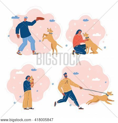Vector Illustration Of People With A Dogs. Walking, Pla Ing, Hugging, Running.