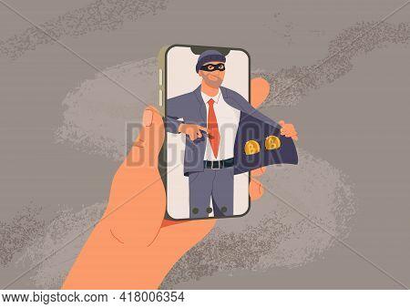 Online Fraud Vector Illustration. Web Hacking. Fraudster Sells Fake Cryptocurrency, Internet Crime F