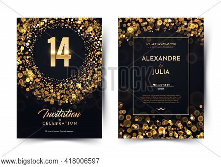 14th Years Birthday Vector Black Paper Luxury Invitation Double Card. Fourteen Years Wedding Anniver
