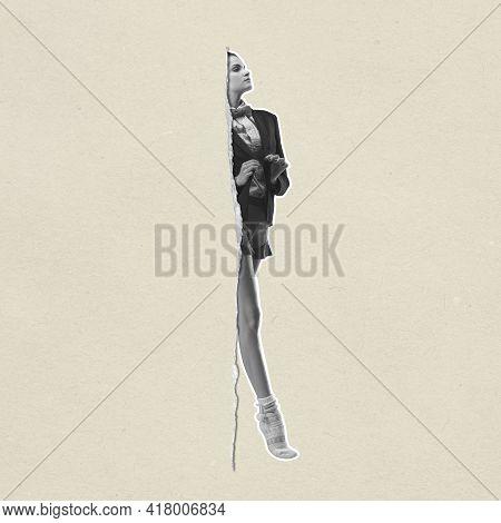 Contemporary Art Collage, Modern Design. Retro Style. Fashionable Ballerina Going Through Paper Clot