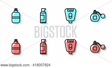Set Line Epilator, Perfume, Spray Can For Hairspray And Icon. Vector