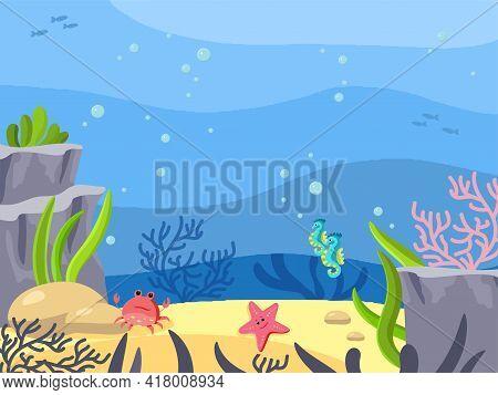 Seabed, Underwater World. Background In Cartoon Style. Vector Illustration. Ocean Depth