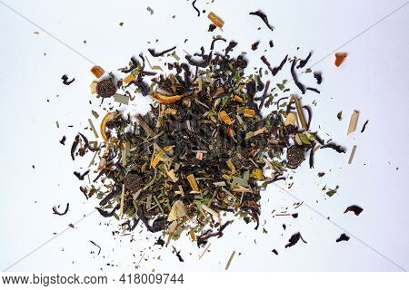 Brewing Mixture With Healthy Herbs, Tea And Dried Fruits On A White Background. Selective Focus