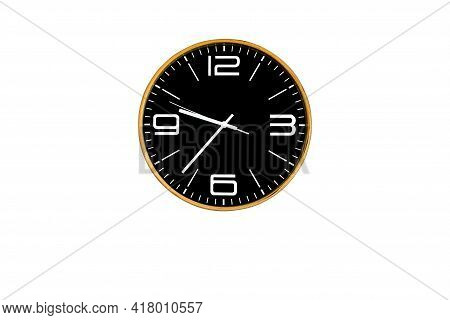 Modern Black Analog Wall Clock, An Equipment For Use Decoration On Interior Home Or Office, Isolated