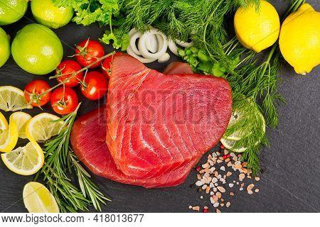 Tuna Raw Steak, Tuna Sashimi, Tuna Fish Sliced With Vegetables. Healthy Eating With Seafood, We Cook