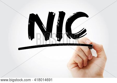 Nic - Network Interface Controller Acronym With Marker, Technology Concept Background