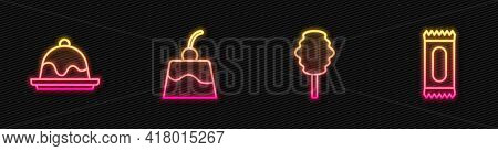 Set Line Cotton Candy, Cake, Pudding Custard And Candy. Glowing Neon Icon. Vector
