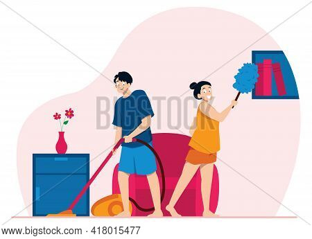 Flat Design Illustration With Young Couple Cleaning Their Home.