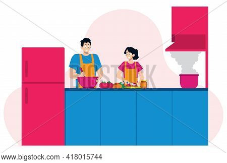 Flat Design Illustration With Young Couple Cooking Together In Their Kitchen.