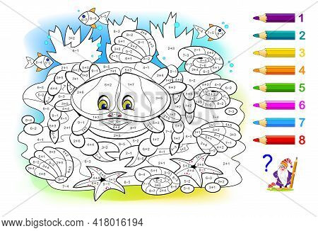 Math Education For Little Children. Coloring Book. Mathematical Exercises On Addition And Subtractio