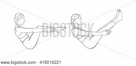 Boat Pose Variations For Abs And Balance. Navasana Strengthing Abs Muscles. Sketch Vector Illustrati