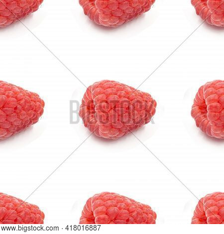 Raspberries On A White Background Seamless Pattern, Close-up