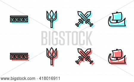 Set Line Crossed Medieval Sword, Ancient Greek Pattern, Neptune Trident And Trireme Icon. Vector