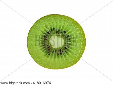 Closeup An Unique Cross-section Of Fresh Ripe Kiwifruit Isolated On White Background