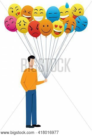 Concept Illustration With Man Holding Balloons Depicting Different Moods And Emotions.