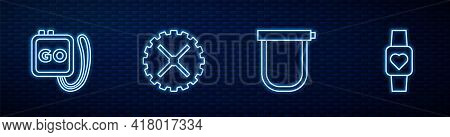 Set Line Bicycle Lock, Stopwatch, Sprocket Crank And Smart. Glowing Neon Icon On Brick Wall. Vector