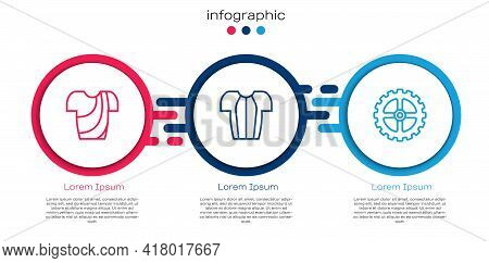 Set Line Cycling T-shirt, And Bicycle Sprocket Crank. Business Infographic Template. Vector