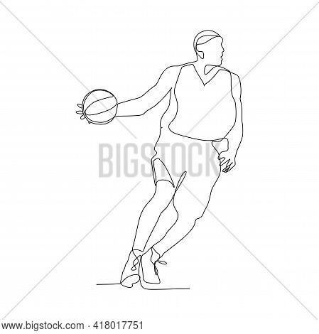 Basketball Player Dribbling The Ball - Continuous One Line Drawing