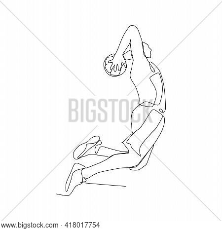 A Male Basketball Player Jump And Slam Dunk- Continuous One Line Drawing