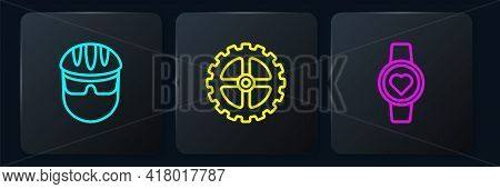 Set Line Bicycle Helmet, Smart Watch And Sprocket Crank. Black Square Button. Vector