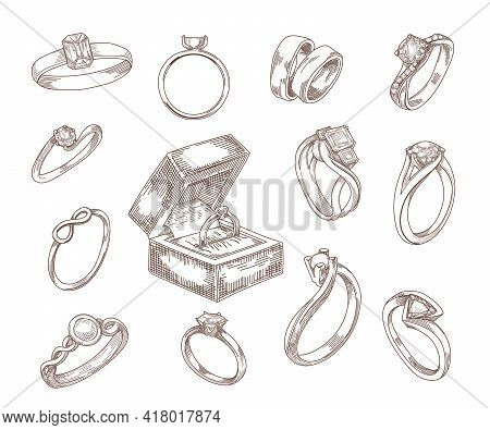 Wedding And Engagement Rings Hand Drawn Sketches Set. Gold And Silver Proposal Rings With Luxury Dia