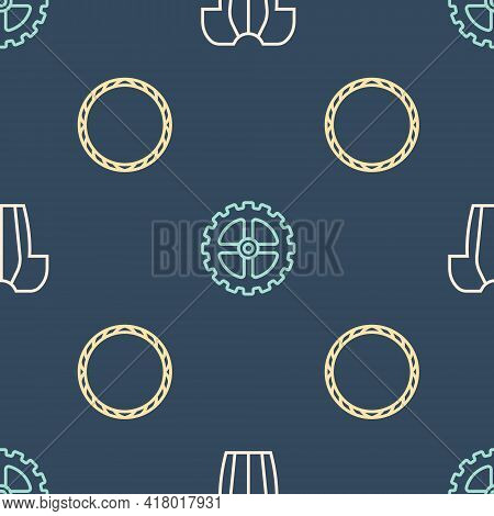 Set Line Cycling T-shirt, Bicycle Wheel And Sprocket Crank On Seamless Pattern. Vector