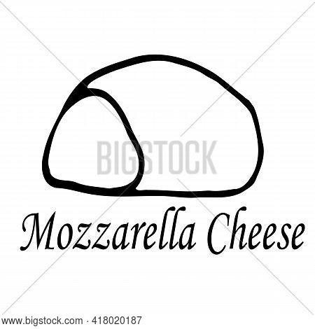 Mozzarella Cheese Doodle Icon, Vector Illustration. Vector Hand Drawn Sketch Illustration In Doodle