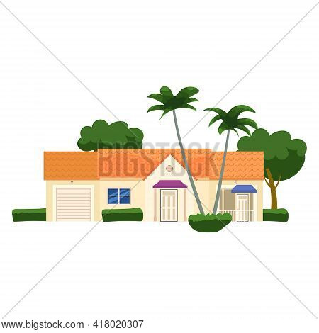 Residential Home Building, Tropic Trees, Palms. House Exterior Facades Front View Architecture Famil