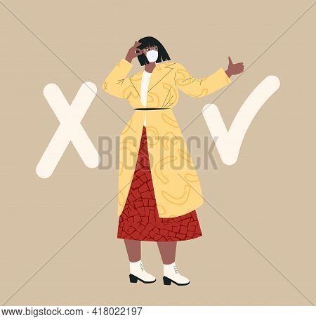 Fact Search Concept With Asian Female Character True Vs False Cartoon Flat Vector Illustration. Myth