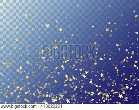 Star Shining Gold Gradient Sparkles On Transparent Background. Glowing Vector Magic Stars Gold Falli