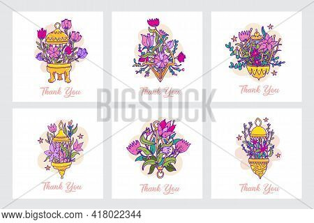 Thank You Card Set. Thank You Cards With Flowers Composition. Vector Illustration In Cartoon Hand Dr