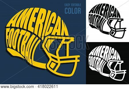 Volumetric Letters With American Football Name On Backdrop Of Safety Sport Helmet. Element For Print