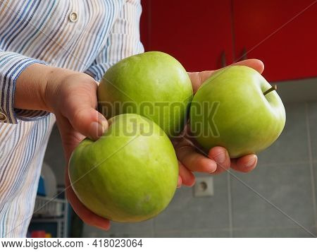Apples In Hand. The Woman Holds Three Green Apples In Her Hands And Offers Them To The Viewer. Organ