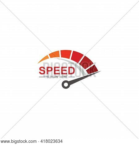 Speed Logo Design, Silhouette Speedometer Symbol Icon Vector,speed Auto Car Logo Template Vector Ill