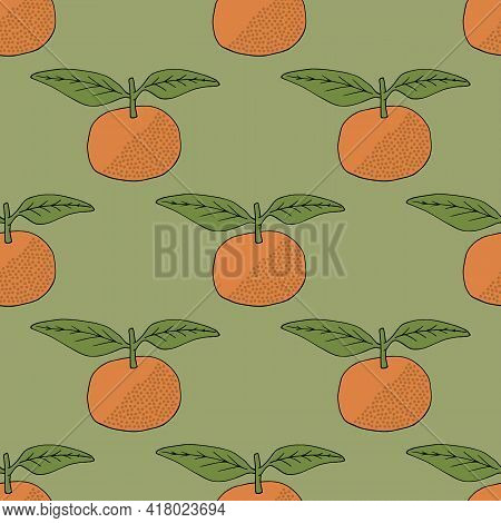 Seamless Pattern With Tangerine On Discreet Green Background. Vector Image.