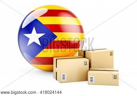 Parcels With Catalan Flag. Shipping And Delivery In Catalonia, Concept. 3d Rendering Isolated On Whi