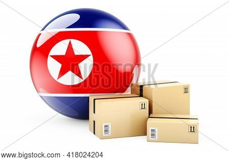 Parcels With Flag Of North Korea. Shipping And Delivery In North Korea, Concept. 3d Rendering Isolat