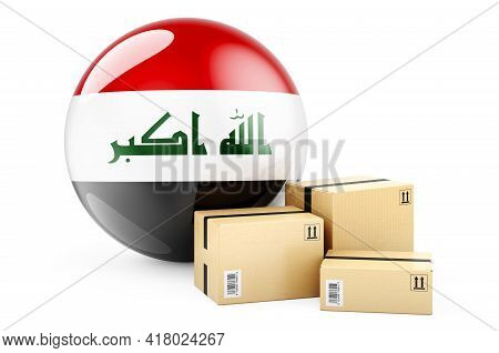 Parcels With Iraqi Flag. Shipping And Delivery In Iraq, Concept. 3d Rendering Isolated On White Back