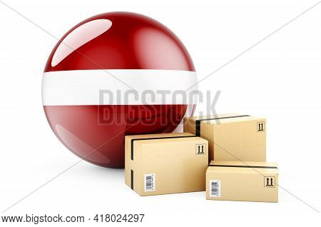 Parcels With Latvian Flag. Shipping And Delivery In Latvia, Concept. 3d Rendering Isolated On White