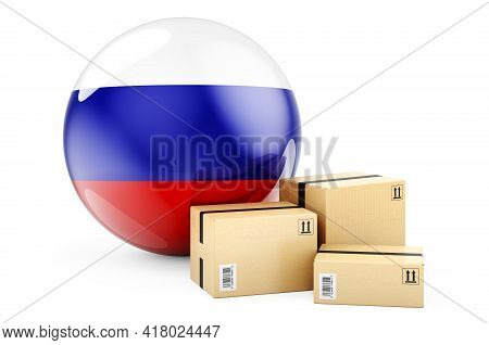 Parcels With Russian Flag. Shipping And Delivery In Russian Federation, Concept. 3d Rendering Isolat