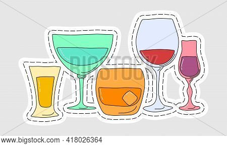 Collection Of Glasses Of Alcohol As A Sticker. Tequila Vermouth Whiskey Red Wine Liquor. Hand Draw C
