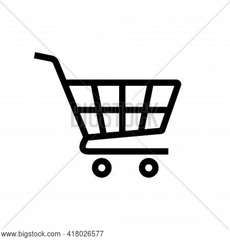 Shopping Cart Icon. Shopping Cart Illustration For Web, Mobile Apps. Shopping Cart Trolley Icon Vect