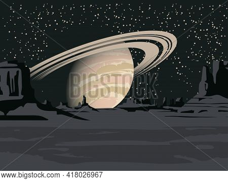 A Fantastic Alien Landscape With A View Of A Desert Area With Rocks And Saturn In The Night Starry S