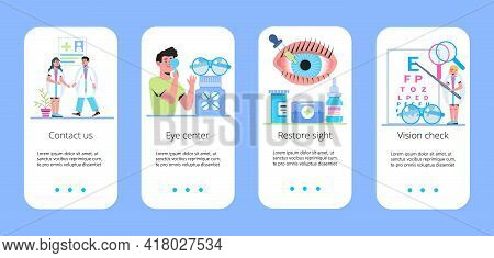 Medical Ophthalmologist Eyesight Check Up With Tiny People. Myopia Concept Vector App. Eye Doctor Co