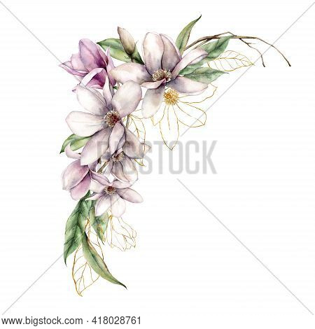 Watercolor Floral Bouquet Of Linear Magnolias, Gold Leaves And Dry Branches. Hand Painted Flowers Is