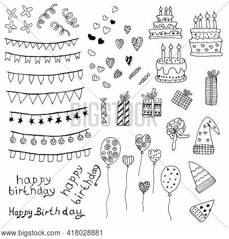 Set Of Accessories For The Holidays, Birthday Accessories. Vector Illustration. Isolated. Coloring P