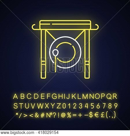 Chinese Gong Neon Light Icon. Traditional Instrument For Announcement In China. Lunar New Years. Out