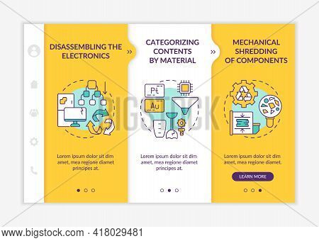 Electronic Waste Recycling Onboarding Vector Template. Responsive Mobile Website With Icons. Web Pag