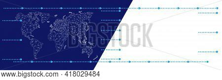 World Map On Blue Background. Copyspace On White Background. Triangular Continents Pattern. Nodes Co